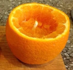 Кальян на апельсине - первый этап